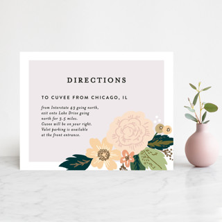Classic Floral Foil-Pressed Direction Cards