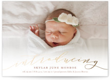 Treasured Foil-Pressed Birth Announcement Postcards