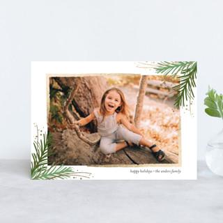 Golden Evergreens Foil-pressed Postcard