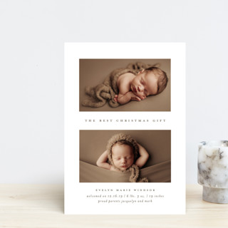 The Best Gift Holiday Birth Announcement Petite Cards
