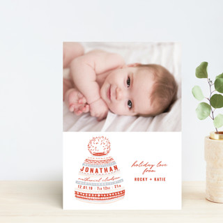 Baby Beanie Holiday Birth Announcement Petite Cards