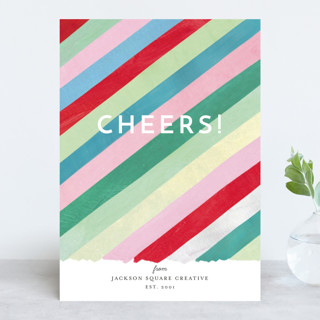 Cheers Diagonal Stripes Business Holiday Cards