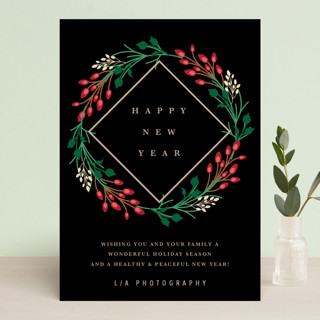 New Year Wreath Business Holiday Cards