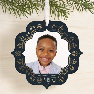 Classic Elegance Foil-Pressed Holiday Ornament Cards