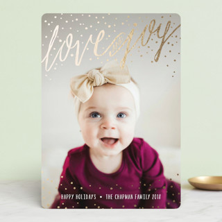 Snowy Love and Joy Foil-Pressed Holiday Cards