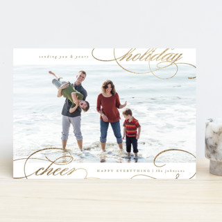 swirled holiday cheer Foil-Pressed Holiday Cards