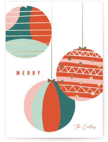 Pattern Baubles Foil-Pressed Holiday Cards