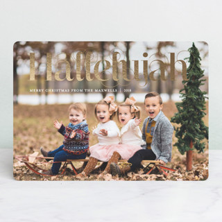 Swirly Hallelujah Foil-Pressed Holiday Cards