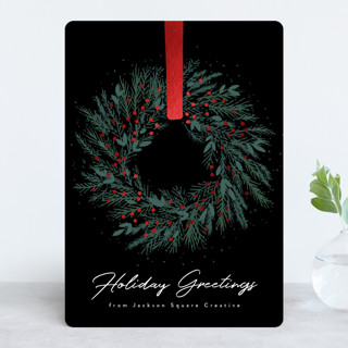 Holiday Wreath Foil-Pressed Holiday Cards