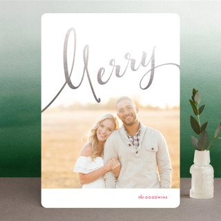 Calligraphic Flourish Foil-Pressed Holiday Cards
