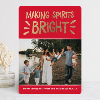 Spirited Holiday Foil-Pressed Holiday Cards