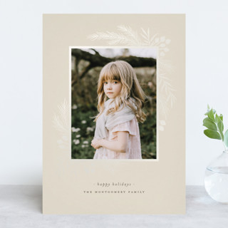 Gilded Botanical Frame Gloss-Press™ Holiday Cards