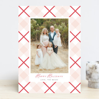 Candy Cane Plaid Letterpress Holiday Photo Cards