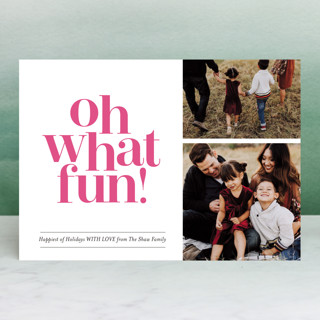 Oh What Fun Duo Letterpress Holiday Photo Cards