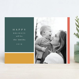 Color Block New Year Photo Cards