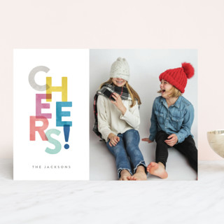 Colorful Cheers New Year Photo Cards