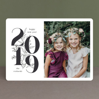 Pencilled Florals New Year Photo Cards
