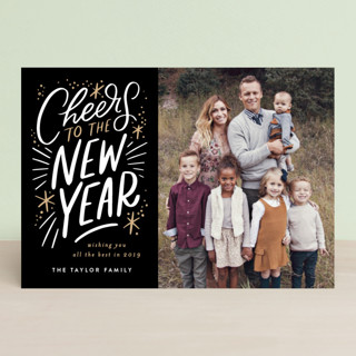 Cheers to the new year lettering Holiday Postcards
