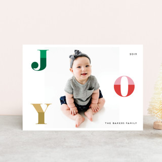 Two Toned Joy Holiday Postcards