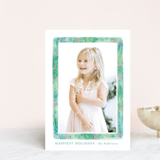 Stylish greenery frame Holiday Postcards