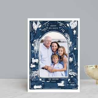 Woodblock Nativity Frame Holiday Postcards