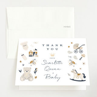 Crown Foil-Pressed Baby Shower Thank You Cards