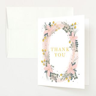 Floral Oval Baby Shower Thank You Cards