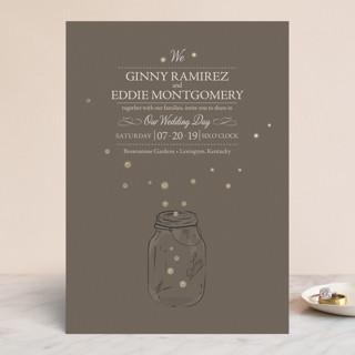 Fireflies Foil-Pressed Wedding Invitations