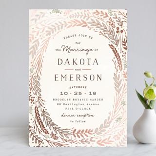 Rustic Wreath Foil-Pressed Wedding Invitations