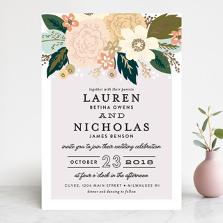 Classic Floral Foil-Pressed Wedding Invitations