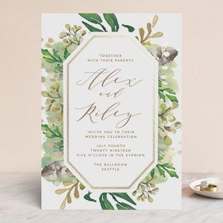 Bohemian Beauty Foil-Pressed Wedding Invitations