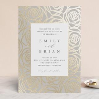 Rose Box Foil-Pressed Wedding Invitations