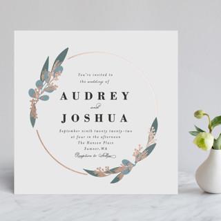 Wedding Wreath Foil-Pressed Wedding Invitations
