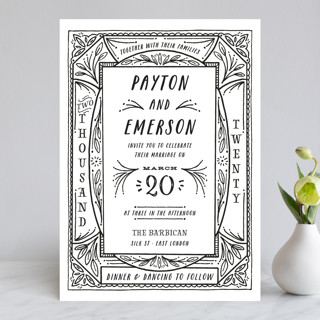 Ink Detailing Frame Wedding Invitations