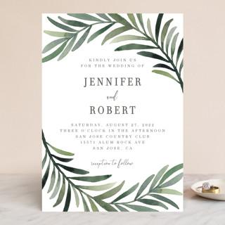 Green leaf frame Wedding Invitations