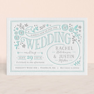 Alabaster Florals Letterpress Wedding Invitations