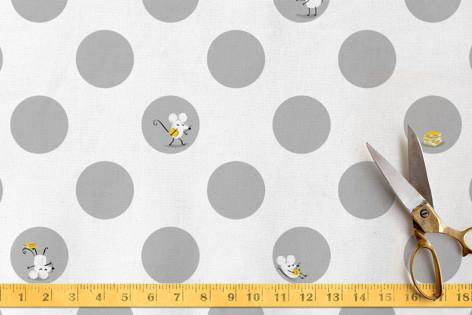 Polka Dot Mice Fabric