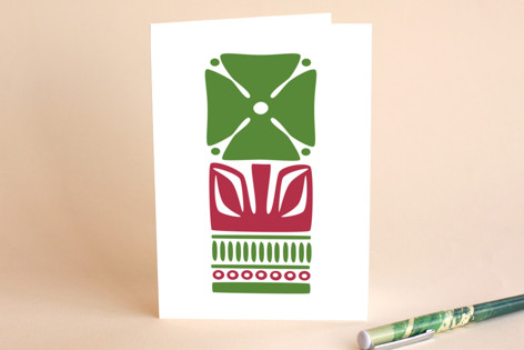 Green Nordic Flower A7 Card Greeting Cards