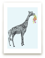Designer Giraffe with flowers Wall Art Prints