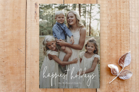 happiest script holiday card Custom Stationery