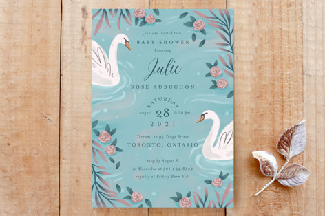 Swans and Roses Custom Stationery