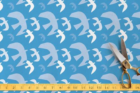 Paper-Cut Flock of Birds Fabric