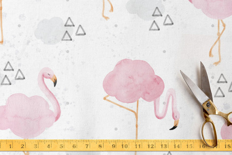 Cloudy with a Chance of Flamingos Fabric