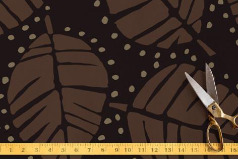 Woodcut Leaves Fabric