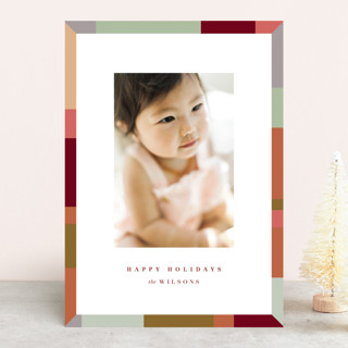 Colorblock Border Christmas Photo Cards