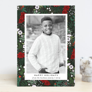 Winter Foliage Toss Christmas Photo Cards