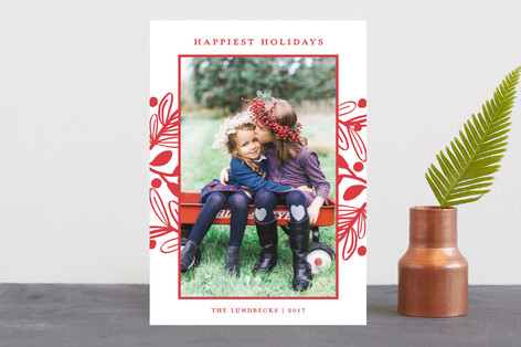 Fun Botanical Frame Christmas Photo Cards
