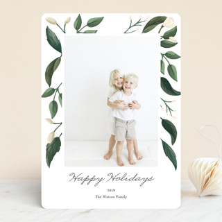 Modern Leaves New Year's Photo Cards