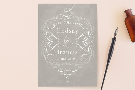 delicate swashes Save the Date Cards