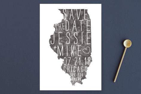 State Stamp - Illinois Save the Date Cards
